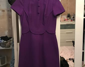 Vintage 1960s Purple Wiggle Dress - UK 12/14
