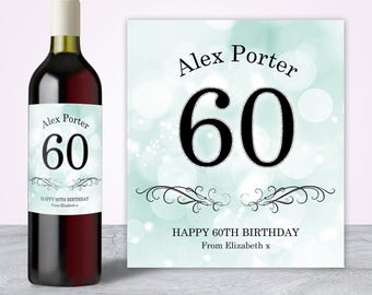 60th Birthday for Men, 60th Birthday Gift, 60th Birthday Party Decorations, 60th Birthday Decorations, 60th Birthday Wine Label