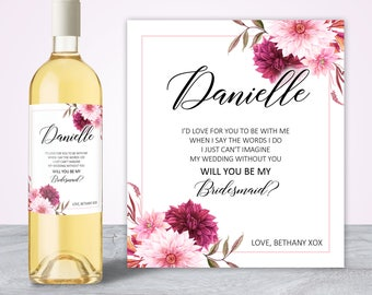 Will you be my bridesmaid gift, Asking Bridesmaid, Bridesmaid Proposal, My turn to pop the question, Bridesmaid Gift Gold Wine Label BM001