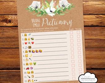 Bridal Shower Emoji Pictionary / Wedding Emoji Pictionary / Bridal Shower Game / Wedding Shower Game / Printable