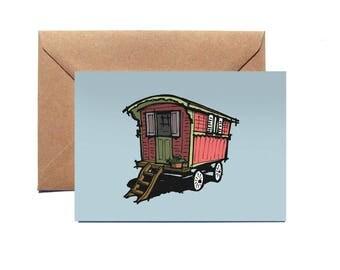 Greetings Card   Gypsy Caravan   Vintage   Illustration