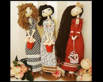 Rag Doll, fabric dolls, cloth doll, stuffed toy, soft doll,  stuffed doll,  tilda doll, cloth dolls handmade, gift for girls