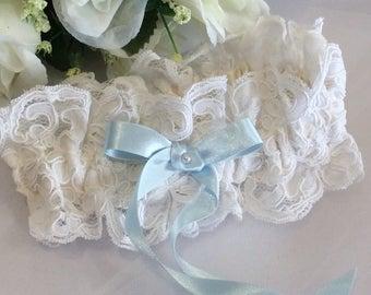 Bridal Garter, Lace Garter, Lace Wedding Garter, Lace Bridal Garter, Boho Vintage Garter, Traditional Garter, Blue Garter