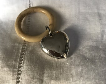 Silver Miniature Heart Rattle. Silver heart rattle. Teething Ring. Tiny silver heart.