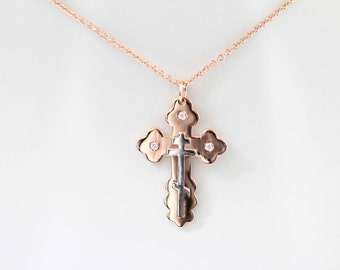 Two-Tone Orthodox Cross in Solid Rose Gold & White Gold, Byzantine Cross, Russian Orthodox Cross, Baptism Cross, Eastern Orthodox Cross