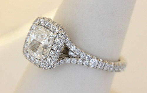 Cushion Cut Diamond Engagement Ring with Diamond Split Shank