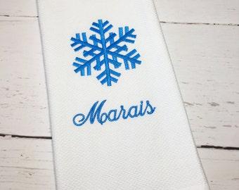Snowflake Kitchen Dish Towel, Christmas Kitchen Dish Towel, Personalized Kitchen Dish Towel, Embroidered Kitchen Dish Towel, Snowflake Towel
