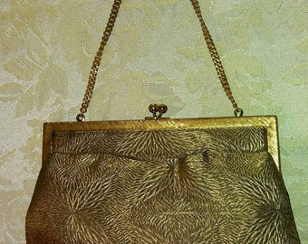 Vintage 1950's Morris Moskowitz Gold Metallic Starburst design Evening Bag w/ mirror