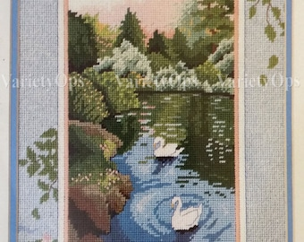 Vintage SWANS at SUNSET Needlepoint KIT Design 12x9 From The Heart 52048 - Serene, Peaceful, Swans, Lake, River, Water, Trees, Nature