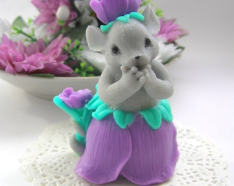 Beautiful Mouse Mold 3d Mice Girl Silicone Mold Mice Tulip Mold Mouse Girl in Skirt Mold Fairy Mice Mold