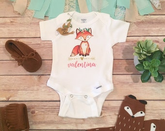 Baby Fox Onesie®, Custom Baby Onesie, Personalized Baby Gift, Name Onesie, Baby Shower Gift, Boho Baby Girl Clothes, Take Home Outfit,Floral