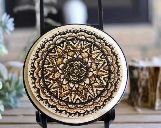 Handcrafted Meditational Mandala on Wood Plaque