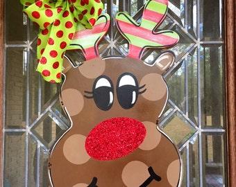 Reindeer door hanger with glitter nose Rudolph the red nosed reindeer Christmas door hanger Christmas wreath