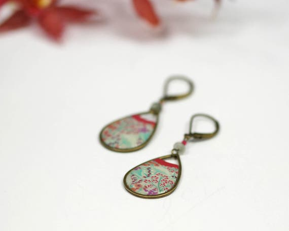 Drop earring red floral japanese patterns 'Garance'