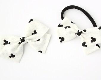 Baby Bow, Toddler, baby girl, fabric bow, nylon headband or clip, newborn, Mickey Mouse Bow