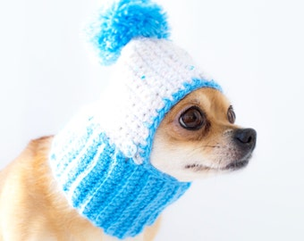 Knitted Dog Hat Cozy Crochet Dog Hat Warm Winter Dog Hat Puppy Chunky Hat Small Blue Dog Hat Dog Costume Knit Dog Clothes Dogs Hats For Dogs