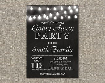 Going Away Party Invitations. Farewell Invite. Chalkboard.String Lights. Black and White