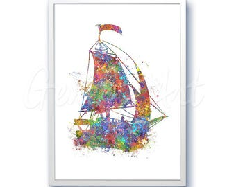 Yacht Boat Watercolor Print - Home Living - Bicycle Painting - Yacht Art - Wall Decor - Home Decor, House Warming Gifts