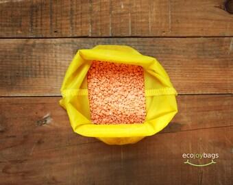 Reusable bulk food bag, reusable grocery bag, ripstop nylon, size medium Yellow