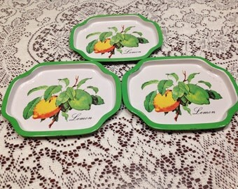 Vintage Lemon Snack Trays w/ Lemon/Lime picture.