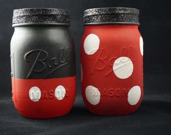 Mickey and Minnie Mason Jar
