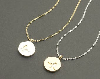 Two Tone Bird Charm Necklace / bird on branch necklace, sprig necklace, sitting bird necklace, duo tone / N0-60