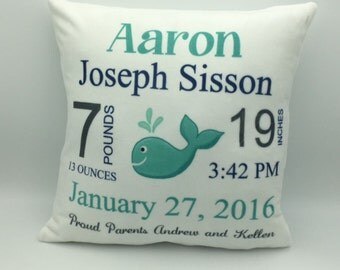 New Baby Pillow   Baby Announcement    Baby Stats Pillow   Custom Baby Pillow   Keepsake Gift   New Parent Gift   Personalized Baby Gfit