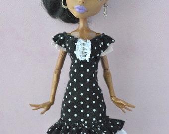 Handmade Polka Dot dress  for Monster High ,Ever After High dolls
