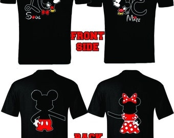 Mickey & Minnie Soul Mate  Front and Back designs Couple T-Shirts