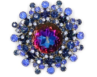 Juliana D&E Large Blue Heliotrope Watermelon Rhinestone Pin