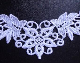 Venise lace Applique, 6 x 2+1/2 inch white color 1 pc