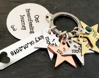 Breastfeeding gift, breastfeeding charm, breastfeeding keyring, milestone, breastfeeding journey, breastfeeding keepsake, golden boobies