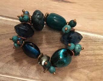 Ships Immediately Green and Blue Multi Stone Stretch Bracelet