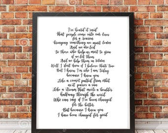 "Wicked Song Lyrics, ""Because I knew you, I have been changed for good"" 