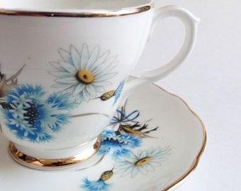 Blue teacup Fine English Giftcraft - Vintage Tea Cup - Cup and Saucer old - English Tea Mug