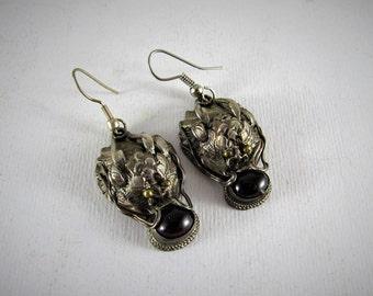 Chinese dragon silver earrings - 925 silver earrings
