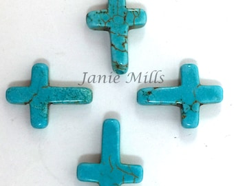 Cross Turquoise Howlite Bead package of 6