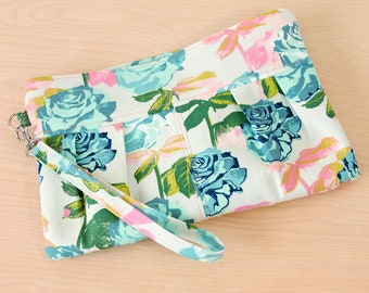 Pleated Rose Floral Clutch