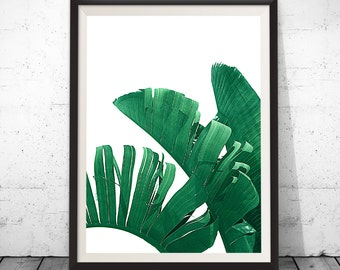 Tropical Print, Palm Leaf Print, Banana Leaf Print, Wall Decor, Leaves, Botanical Print, Plant Print, Palm Print, Scandinavian Poster Nature