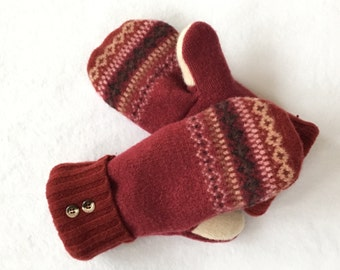 Sweater Mittens, Recycled Sweater Mittens, Fleece Lined Mittens, Lined Mittens, Lined Sweater Mittens, Ski Mittens, Red Mittens