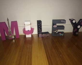 Paris Themed Character Letters - Hand Made Character Letters