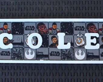Star Wars Name Sign, Star Wars room sign, Star Wars party, Star Wars wall art, Star wars birthday party, star wars decor, BB-8, BB-8 sign,