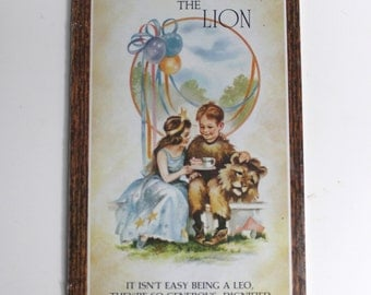 Vintage Leo Zodiac Wall Plaque