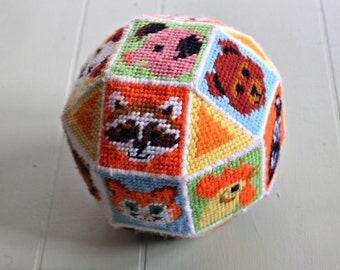 Vintage 1970's Needlepoint Patchwork Animal Ball