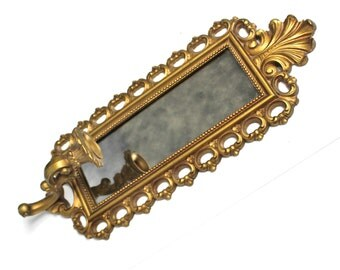 Vintage Decorative Framed Mirror with Candle Holder - Homco/Dart Industries 1972
