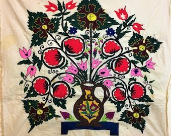 Antique Tajik Traditional Handmade Suzani from 1900s, Wall Carpet, Tablecloth, Bedspread, Flora Motif,