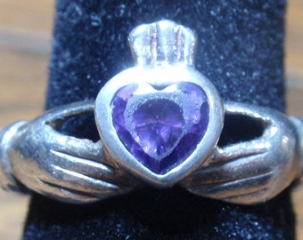 Sterling Heart Amethyst Irish Claddach