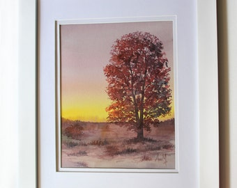 "Original Framed Watercolor Painting ""Waiting for the Morning"" - Landscape"