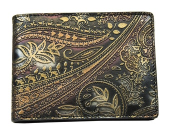 POWER FLOWER-Printed leather men's wallet without coin case