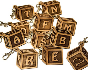 Alphabet Letters engraved leather Keychain buffed by hand-Made in Italy